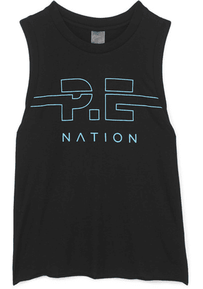 P.E NATION - Spike Printed Cotton-jersey Tank - Black