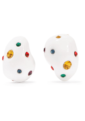 Mounser - Gold-plated, Enamel And Crystal Earrings - White