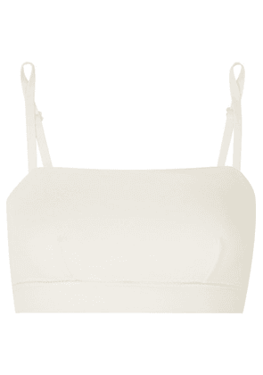 The Great Eros - Forma Shirred Stretch-cotton Ponte Soft-cup Bra - Ecru