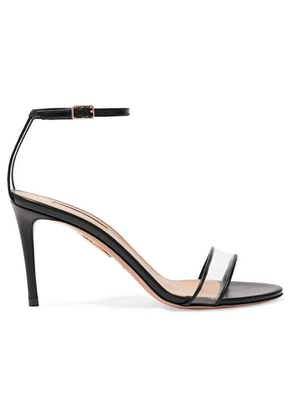 Aquazzura - Minimalist 85 Leather And Pvc Sandals - Black