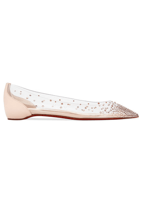 Christian Louboutin - Degrastrass Embellished Pvc And Leather Point-toe Flats - Ivory