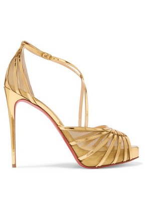 Christian Louboutin - Filamenta 120 Metallic Leather And Mesh Sandals - Gold