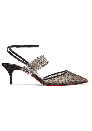 Christian Louboutin - Levita Rete 55 Spiked Pvc, Leather And Lace Pumps - Black