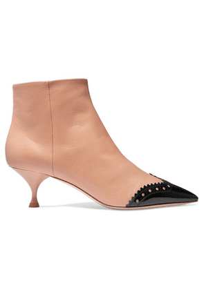 Miu Miu - Two-tone Leather Ankle Boots - Neutral