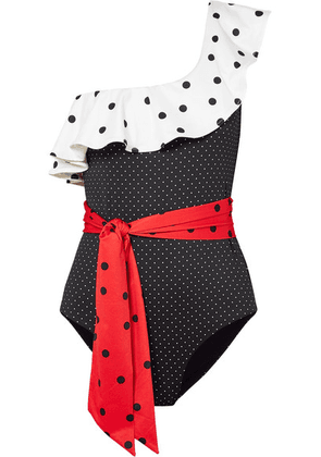 GANNI - One-shoulder Ruffled Polka-dot Swimsuit - Black