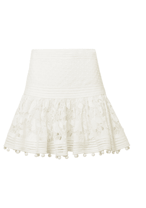 Zimmermann - Corsage Pompom-embellished Guipure Lace And Swiss Dot-tulle Mini Skirt - Ivory