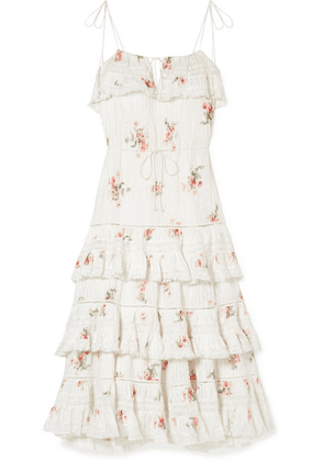 Zimmermann - Heathers Lace-trimmed Tiered Pintucked Floral-print Cotton-voile Dress - White