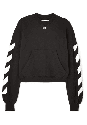 Off-White - Cropped Printed Cotton-blend Jersey Sweatshirt - Black