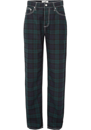 Eytys - Benz Cali Plaid Flannel Wide-leg Pants - Navy
