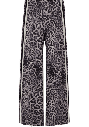 Norma Kamali - Elephant Striped Leopard-print Stretch-jersey Wide-leg Pants - Gray