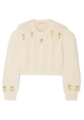 Alessandra Rich - Cropped Embroidered Cable-knit Alpaca-blend Sweater - White
