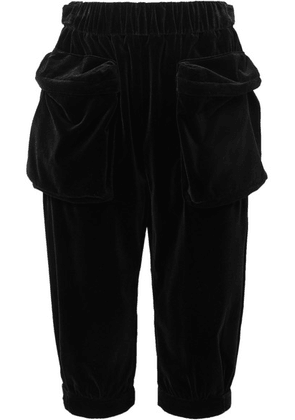 Miu Miu - Cropped Cotton-velvet Track Pants - Black