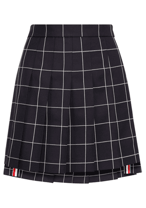 Thom Browne - Pleated Checked Wool-twill Mini Skirt - Navy