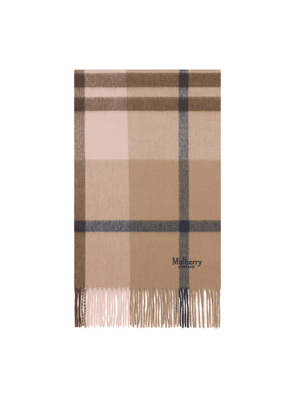Mulberry Small Check Scarf in Dune and Icy Pink Lambswool