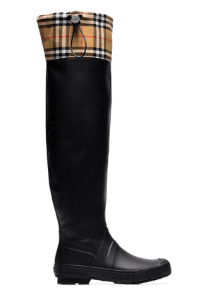 Burberry Vintage check and rubber knee-high rain boots - Black
