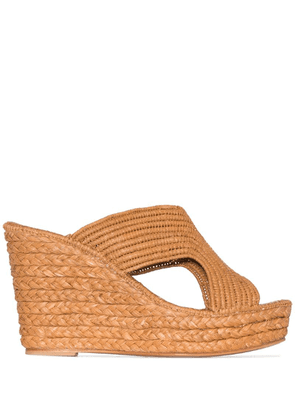 Carrie Forbes Lina 40mm raffia wedge sandals - Brown