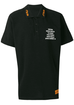 Heron Preston slogan print polo shirt - Black