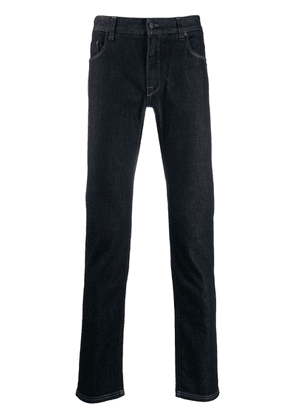 Fendi FF logo pocket skinny jeans - Blue