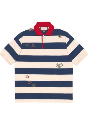 Gucci Embroidered striped jersey polo - Neutrals