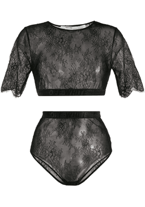 Off-White lace T-shirt and briefs set - Black