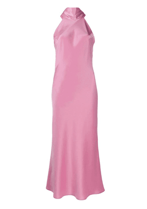 Galvan satin halterneck evening dress - Pink