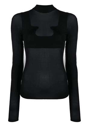 Courrèges sheer roll neck sweatshirt - Black