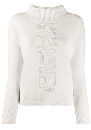 D.Exterior sweatshirt with cable knit detail - Neutrals