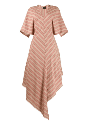 Loewe Paula striped asymmetric dress - Neutrals