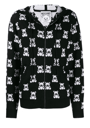 Moschino teddy bear zipped hooded jacket - Black