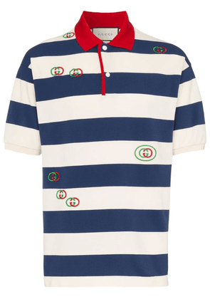Gucci striped embroidered polo shirt - Blue