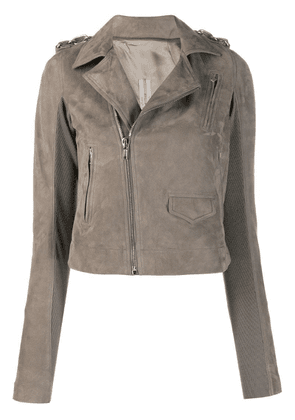 Rick Owens cropped biker jacket - Grey