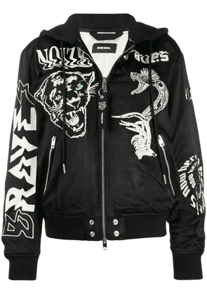 Diesel embroidered satin bomber jacket - Black