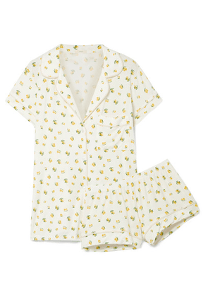 Eberjey - Dianna Printed Stretch-modal Jersey Pajama Set - Off-white