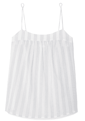 Skin - Isabella Striped Cotton-gauze Pajama Top - White