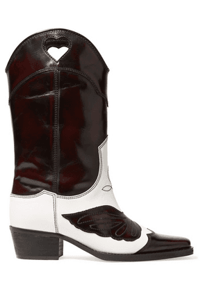 GANNI - Two-tone Embroidered Leather Cutout Boots - Dark brown