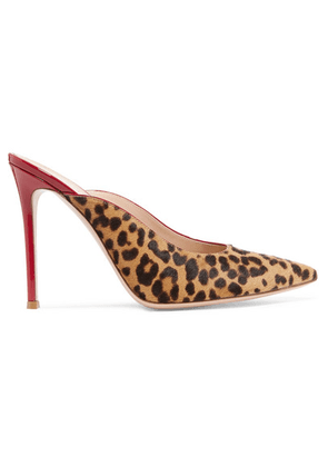 Gianvito Rossi - 105 Leopard-print Calf Hair And Patent-leather Mules - Leopard print