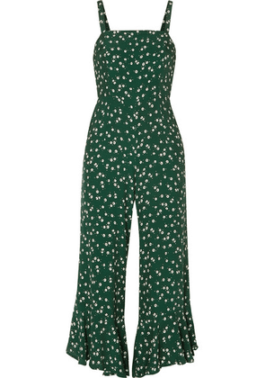 Faithfull The Brand - Lea Cropped Ruffled Floral-print Crepe De Chine Jumpsuit - Dark green