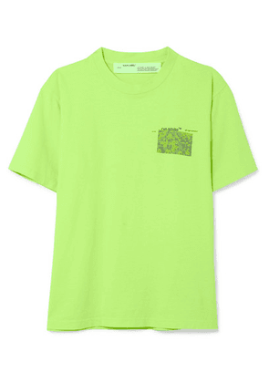Off-White - Neon Printed Cotton-jersey T-shirt - Green