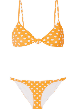Caroline Constas - Marta And Mykela Twist-front Polka-dot Bikini - Yellow