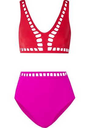 OYE Swimwear - Ela Cutout Two-tone Bikini - Red