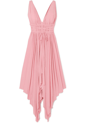 Norma Kamali - Goddess Ruched Stretch-jersey Midi Dress - Bubblegum