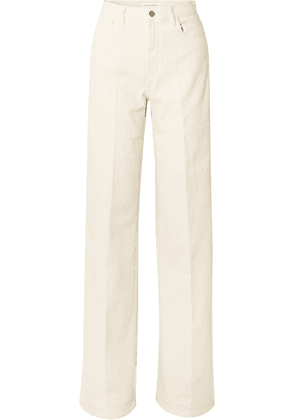 J Brand - + Elsa Hosk Monday High-rise Wide-leg Jeans - White