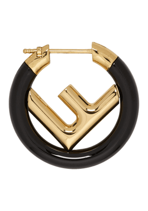 Fendi Black and Gold Mini F is Fendi Hoop Earring