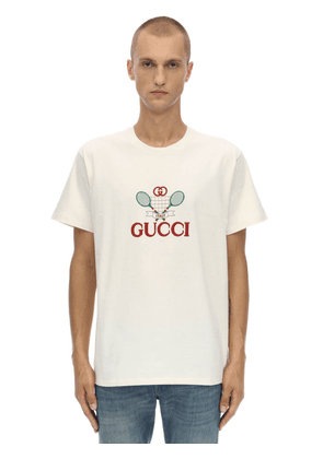 Gg Tennis Embroidered Cotton T-shirt