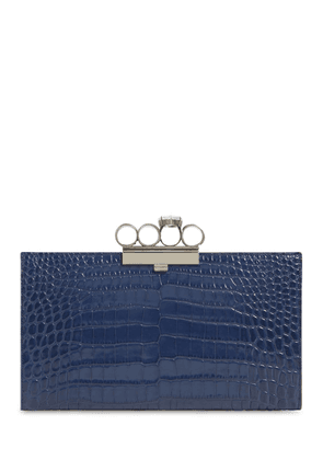 Four Ring Croc Embossed Leather Clutch