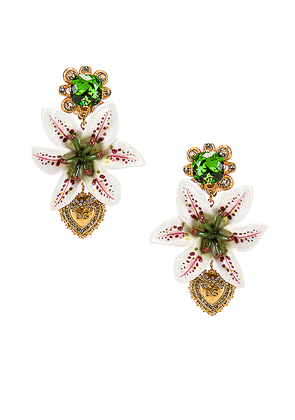 Dolce & Gabbana Crystal Lily Embellished DG Heart Earrings in White & Gold - White. Size all.