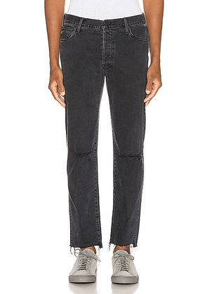 MOTHER The Neat Ankle Step Fray Jean in The Soul Taker Destroyed - Black. Size 29 (also in 30,31,32,33,34).