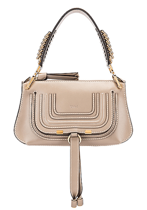 Chloe Small Marcie Leather Saddle Bag in Motty Grey - Neutral. Size all.