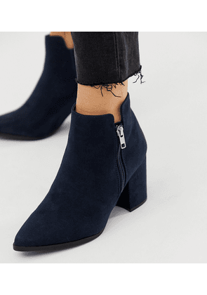 New Look wide fit PU pointed heeled boot in navy