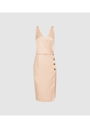 Reiss Peppa - Button Detail Dress in Gold, Womens, Size 6